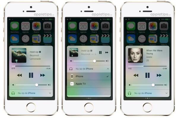 Muziek in het iOS 10 bedieningspaneel