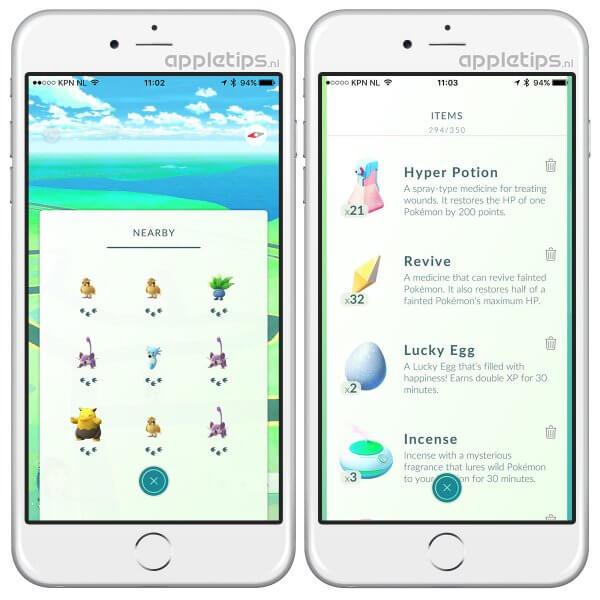 nearby Pokémon Go en je bag