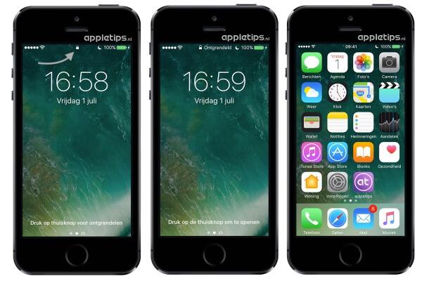 iOS 10 toegangsscherm ontgrendelen en mogelijkheden