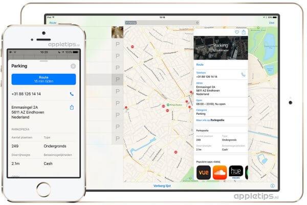 parking en parkeerplaatsen bekijken in Apple Maps Kaarten