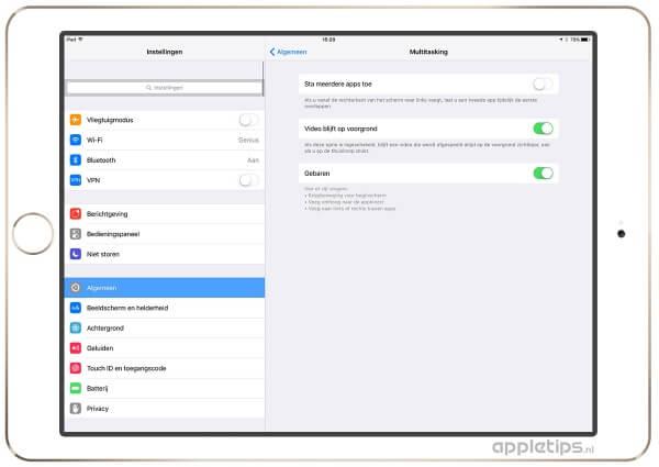 Slide Over uitschakelen in iOS 9 en nieuwer