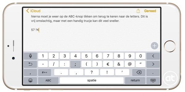 snel typen van leestekens, cijfers en meer in iOS