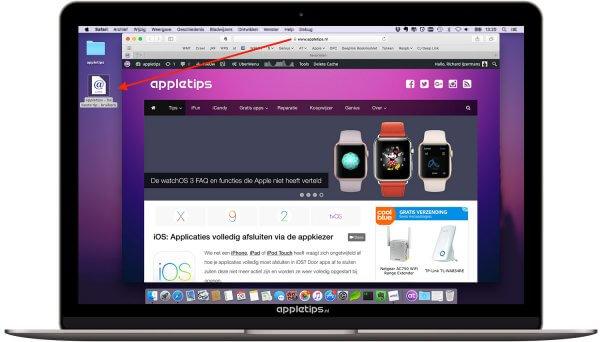 snelkoppeling safari naar bureaublad in OS X macOS