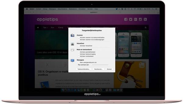 toegankelijkheidopties in OS X activeren met toetscombinatie mac
