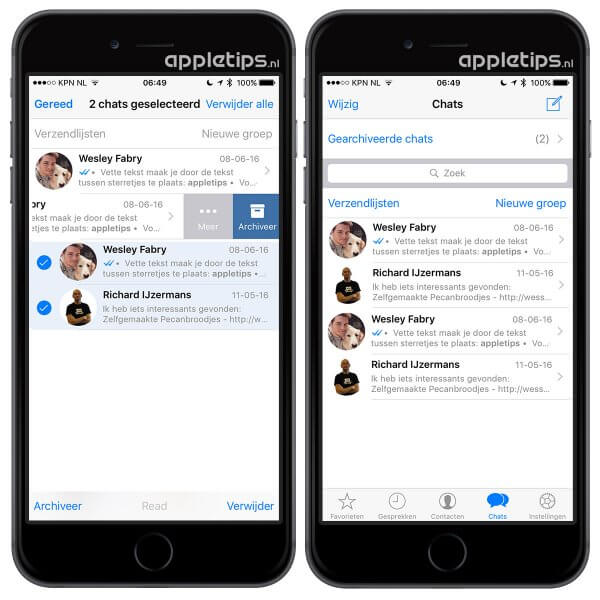 whatsapp gesprekken archiveren of verwijderen