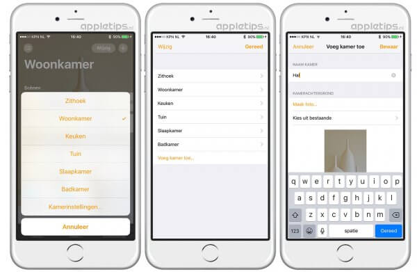 Kamers aanmaken in iOS 10 Woning (homekit)