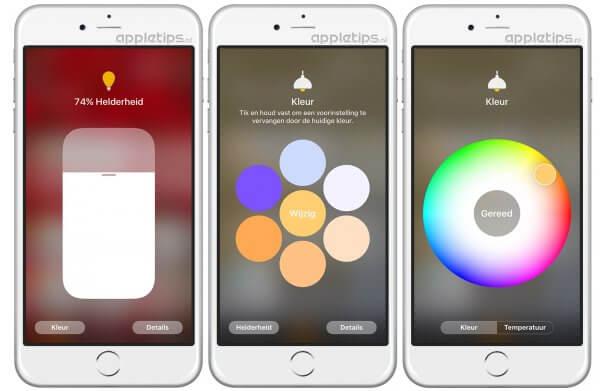 Hue lampen bedienen in Woning iOS 10
