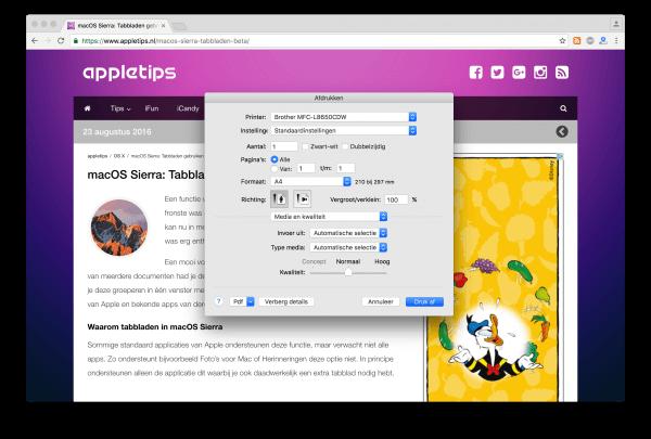 Chrome OS X dialoogvenster