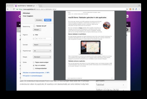 Chrome Print dialoogvenster uitschakelen