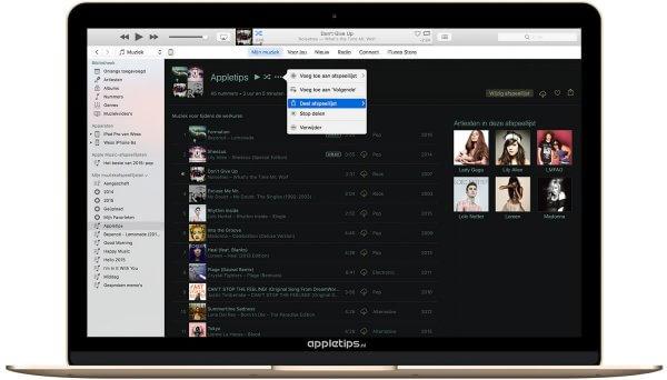 afspeellijst delen via een Apple Music widget