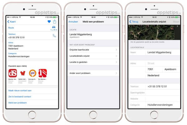 Apple maps kaarten locatie aanpassen