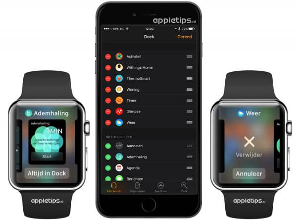 applicaties toevoegen aan het Dock in watchOS 3