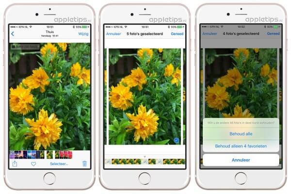 Burst foto's uit burstmode selecteren en bewaren
