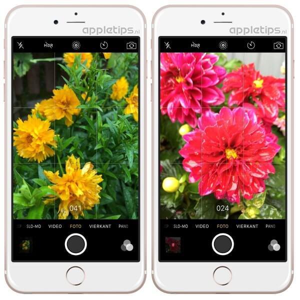 burstmode activeren in de camera app