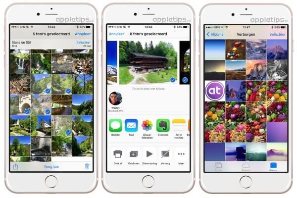foto's verbergen in iOS foto app