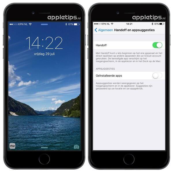 appsuggesties iOS toegangsscherm uitschakelen