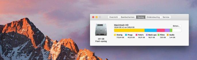 macOS Sierra optimalisatie handmatig of via iCloud opslag