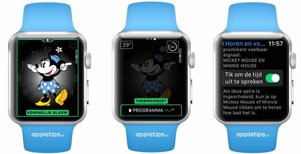 Mickey en minnie mouse watchOS 3