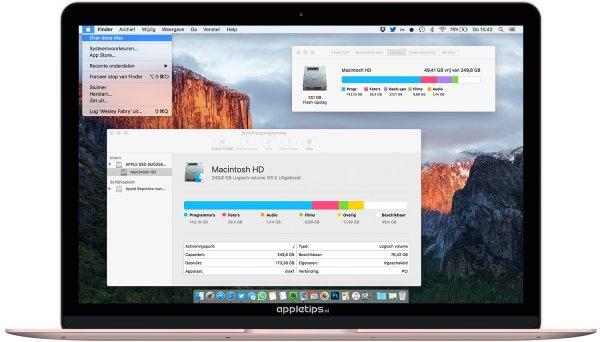opslagruimte van je nieuwe Mac bepalen
