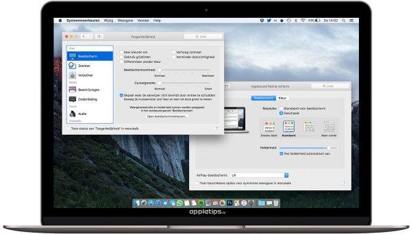 het scherm van je Mac aanpassen via toegankelijkheidsopties