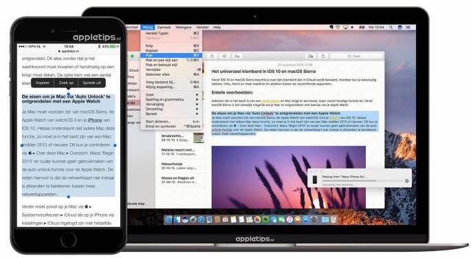 universeel klembord gebruiken in iOS 10 en macOS Sierra
