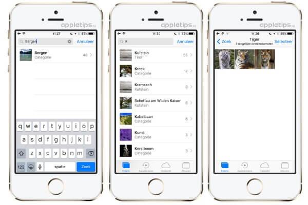 Foto's zoeken in iOS 10