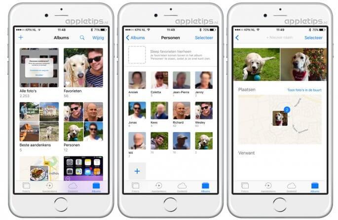 iOS 10 personen overzicht