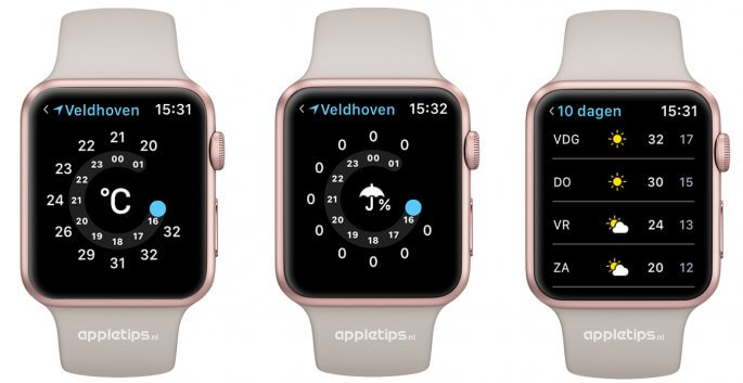 10 daagse weersverwachting in weer applicatie watchOS 3