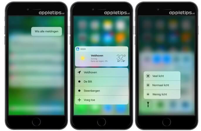 3D Touch toont widgets en extra opties in iOS 10