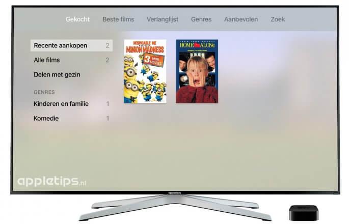 aankopen bekijken op een Apple TV na iCloud activeren