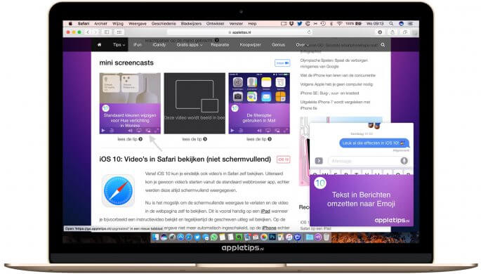 beeld in beeld activeren in Safari en YouTube