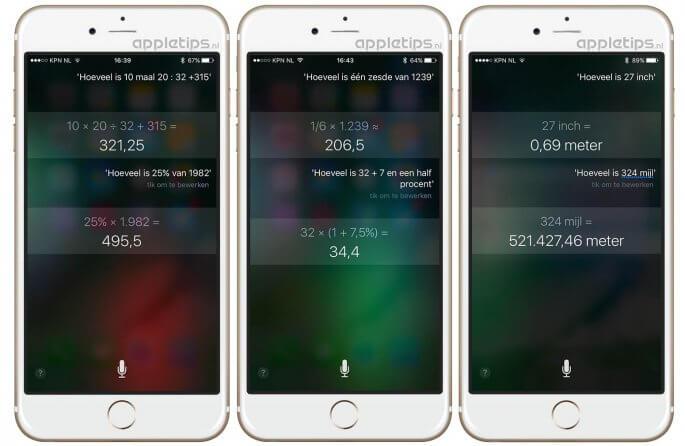 berekeningen en rekenen met Siri