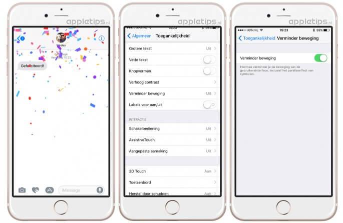 Berichten effecten uitschakelen in iOS 10 of nieuwer