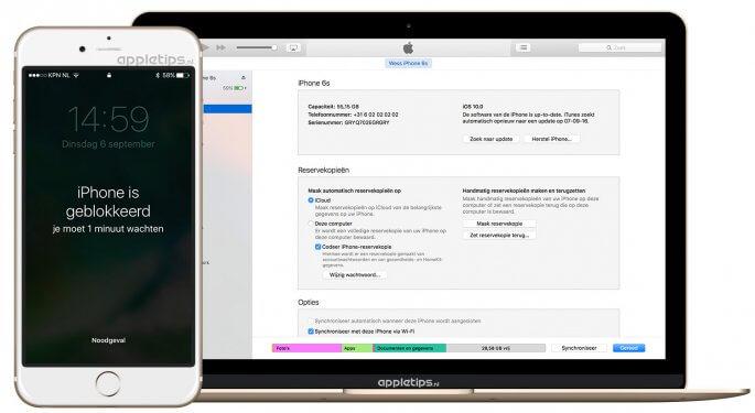 geblokkeerd iphone herstellen via iTunes