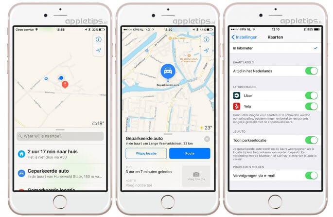 geparkeerde auto bekijken in Kaarten en extensies voor Apple Maps