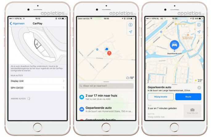 Geparkeerde auto terugvinden in iOS 10 kaarten