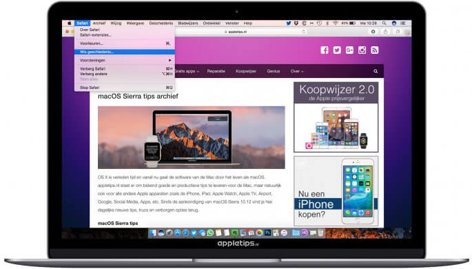 geschiedenis wissen in macOS Sierra bugs