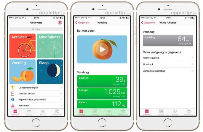 Overzicht vernieuwde gezondheid app iOS 10