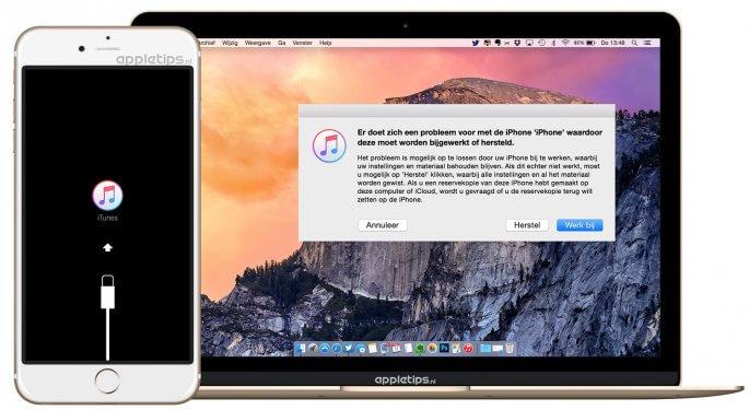 geblokkeerd iphone of iPad herstellen via herstelmodus