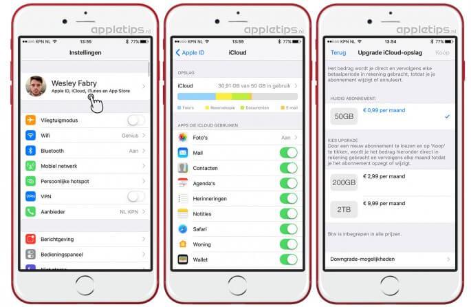 iCloud-opslag aanpassen