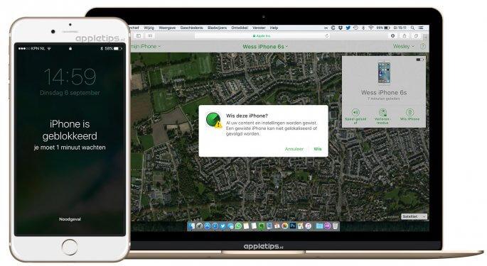 geblokkeerd iphone herstellen via zoek mijn iPad