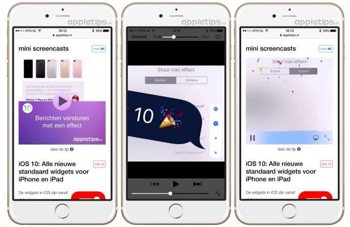 iOS 10 Safari schermvullend inline weergeven