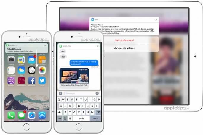 iOS 10 Rijke interactieve meldingen na ontgrendeling