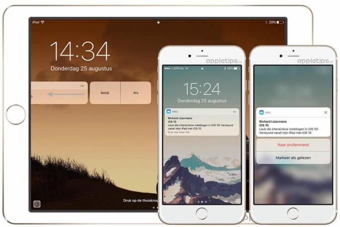 iOS 10 Rijke interactieve meldingen op het toegangsscherm