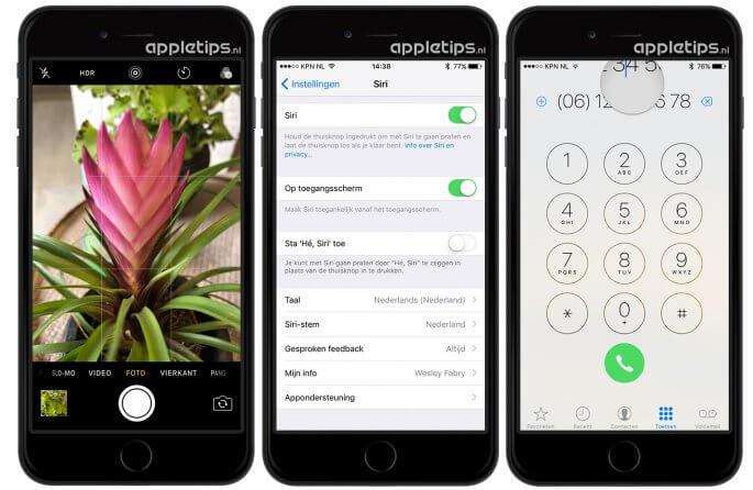 iOS 10 wijzingen in Klok, Siri en Telefoon