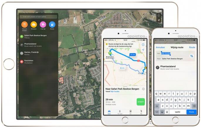 nieuwe interface in de kaarten app ios 10