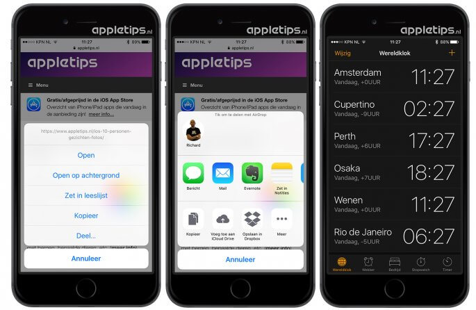 kleine wijzigingen iOS 10 links en wereldklok