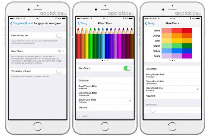 kleurfilters gebruiken in iOS 10 voor intensere kleuren