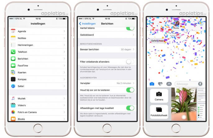 foto's in lage kwaliteit versturen in iOS 10 berichten
