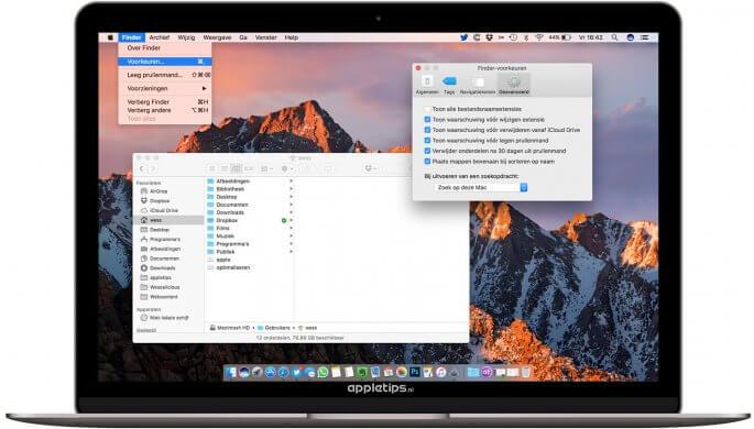 mappen bovenaan plaatsen in Finder macOS sierra